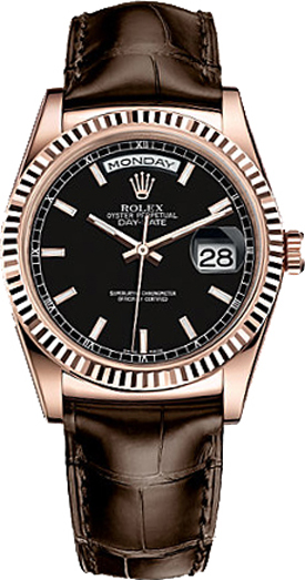 replique Montre homme Rolex Day-Date 36 bracelet en cuir 118135