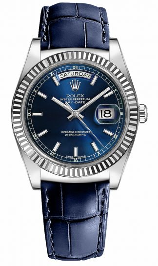 replique Montre homme Rolex Day-Date 36 cadran bleu 118139