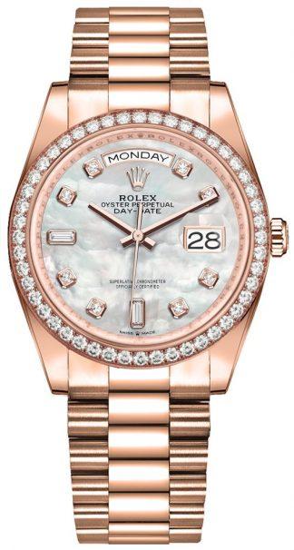 replique Montre homme Rolex Day-Date 36 diamants Everose Gold 128345RBR
