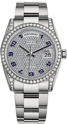 replique Montre homme Rolex Day-Date 36 diamants en or massif 118389