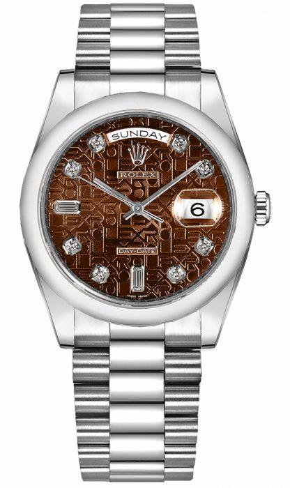 replique Montre homme Rolex Day-Date 36 en or blanc 118209