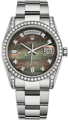 replique Montre homme Rolex Day-Date 36 en or blanc massif 118389