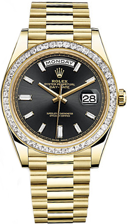 replique Montre homme Rolex Day-Date 40 Black Diamond 228398TBR