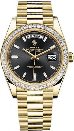 replique Montre homme Rolex Day-Date 40 Black Diamond 228398TBR