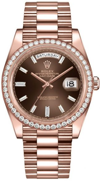 replique Montre homme Rolex Day-Date 40 Diamond Hour Markers 228345RBR
