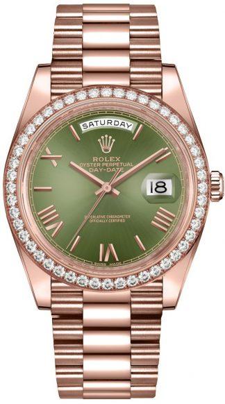 replique Montre homme Rolex Day-Date 40 cadran vert olive 228345RBR