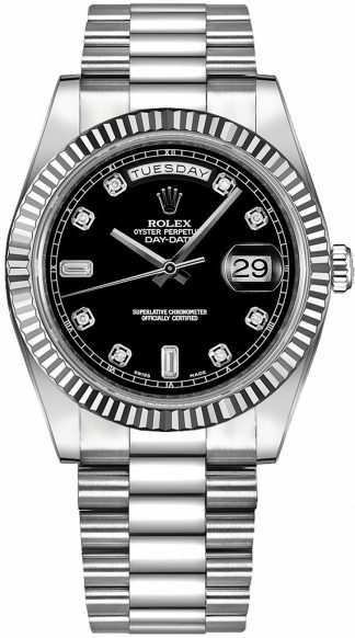 replique Montre homme Rolex Day-Date 41 Black Diamond Dial Gold 218239