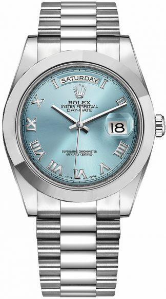 replique Montre homme Rolex Day-Date 41 Ice Blue avec chiffres romains et cadran 218206