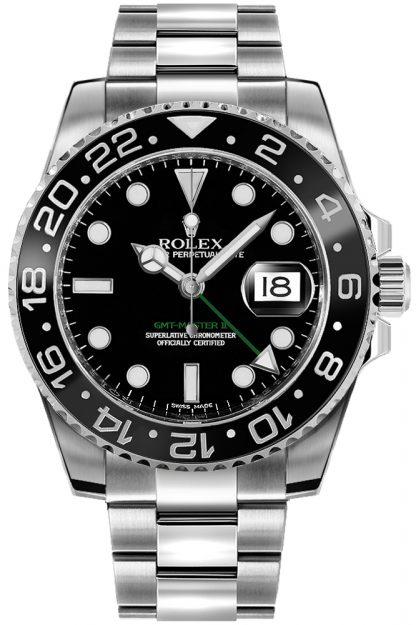 replique Montre homme Rolex GMT-Master II cadran noir Oystersteel 116710LN