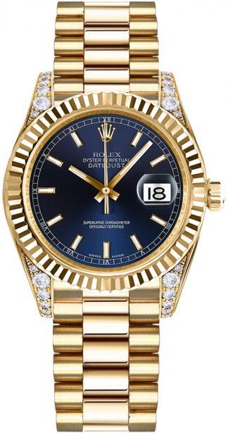 replique Montre pour femme Rolex Datejust 31 cadran bleu diamant 178238