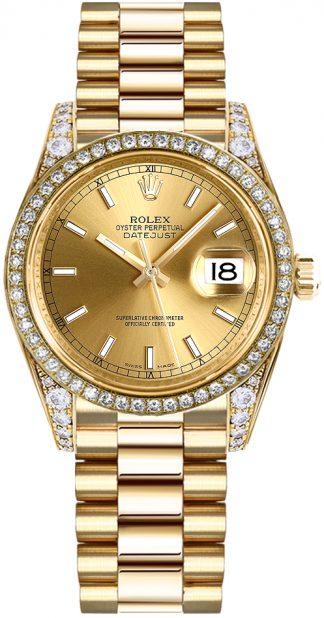 replique Montre pour femme Rolex Datejust 31 en or massif 18 carats 178158