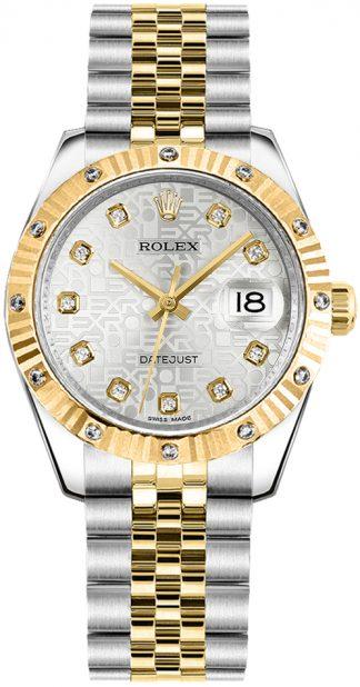 replique Montre pour femme Rolex Datejust 31 solide en or jaune 18 carats et acier 178313