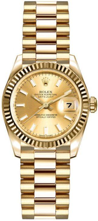 replique Montre pour femme Rolex Lady-Datejust 26 en or jaune massif 18 carats 179178