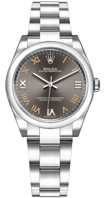 replique Montre pour femme Rolex Oyster Perpetual 31 cadran gris foncé 177200