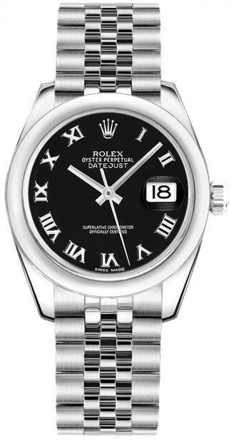 replique Montre pour femme en acier inoxydable cadran noir Rolex Datejust 31 178240