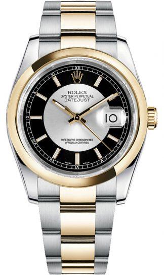 replique Montre pour homme Rolex Datejust 36 cadran noir et argent 116203