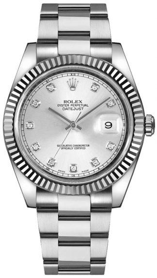 replique Montre pour homme Rolex Datejust 41 Silver Diamond 126334