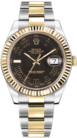 replique Montre pour homme Rolex Datejust II 41 en or jaune et acier 116333