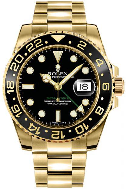 replique Montre pour homme Rolex GMT-Master II en or 116718