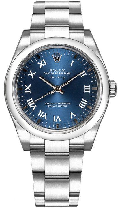 replique Montre pour homme Rolex Oyster Perpetual Air-King Blue Dial 114200