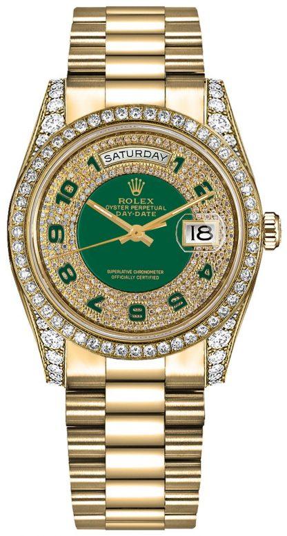 replique Montre suisse Rolex Day-Date 36 à cadran diamant vert 118388