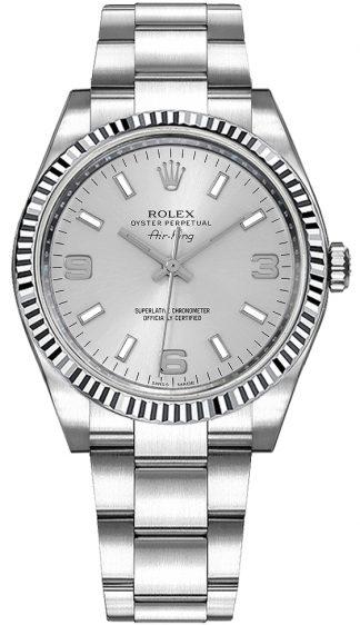 replique Montre suisse Rolex Oyster Perpetual Air-King Silver Dial pour femme 114234
