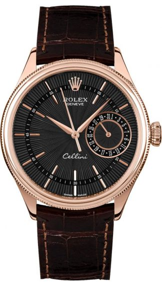replique Rolex Cellini Date Black Dial 18k Everose Gold Men's Watch 50515