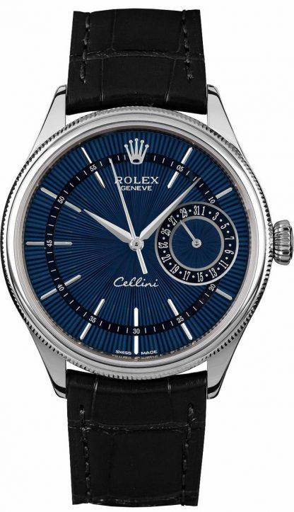 replique Rolex Cellini Date Blue Dial Black Leather Strap Men's Watch 50519