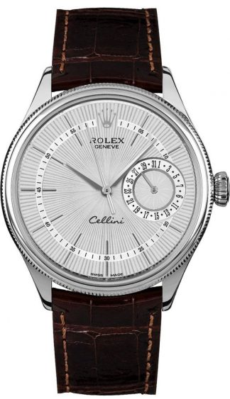 replique Rolex Cellini Date Silver Dial Luxury Men's Watch 50519
