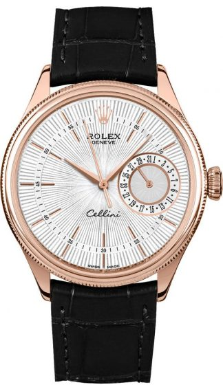 replique Rolex Cellini Date Silver Guilloche Dial Men's Watch 50515