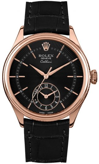 replique Rolex Cellini Dual Time Black Dial Men's Watch 50525