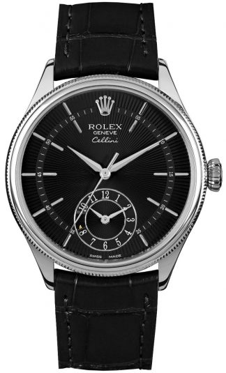replique Rolex Cellini Dual Time Black Dial Men's Watch 50529