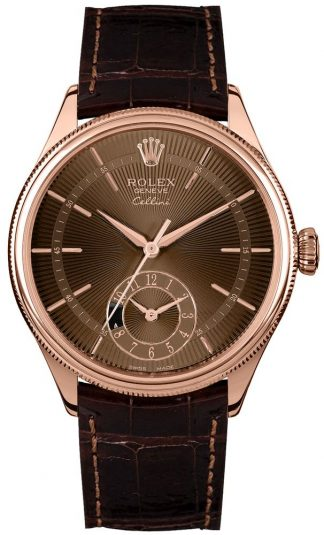 replique Rolex Cellini Dual Time Brown Guilloche Dial Men's Watch 50525