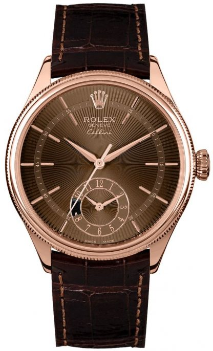 replique Rolex Cellini Dual Time Brown Guilloche Dial Men's Watch 50525