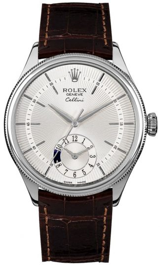 replique Rolex Cellini Dual Time Silver Dial Brown Strap Men's Watch 50529