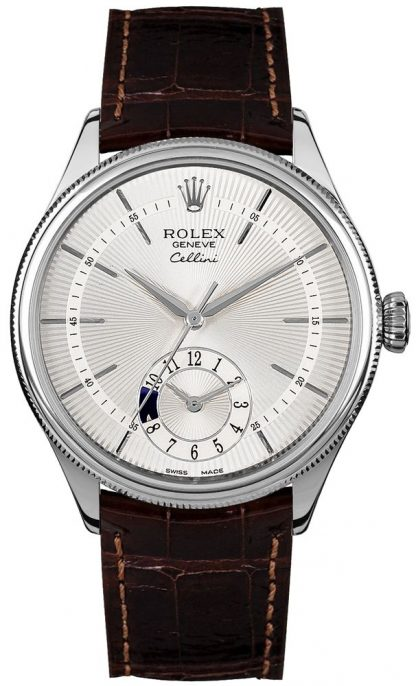 replique Rolex Cellini Dual Time Silver Dial Brown Strap Men's Watch 50529