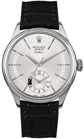 replique Rolex Cellini Dual Time Silver Dial Men's Watch 50529
