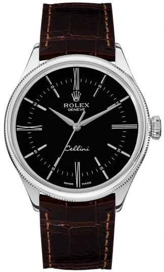replique Rolex Cellini Time 18k White Gold Black Dial Men's Watch 50509