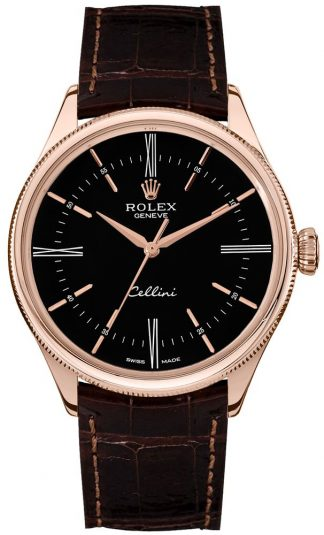 replique Rolex Cellini Time Black Dial Double Bezel Men's Watch 50505