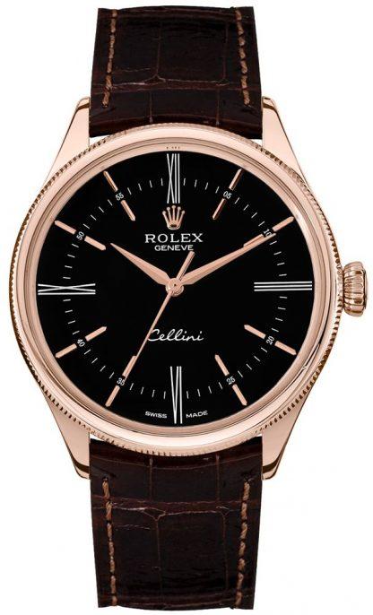 replique Rolex Cellini Time Black Dial Double Bezel Men's Watch 50505