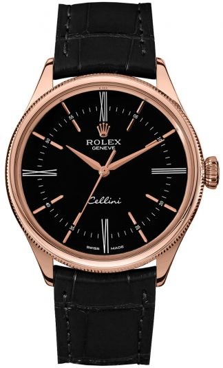 replique Rolex Cellini Time Black Dial Men's Watch 50505