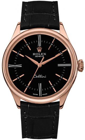 replique Rolex Cellini Time Black Dial Men's Watch 50505
