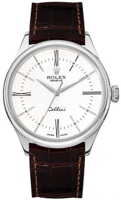 replique Rolex Cellini Time White Dial Index Hour Markers Men's Watch 50509
