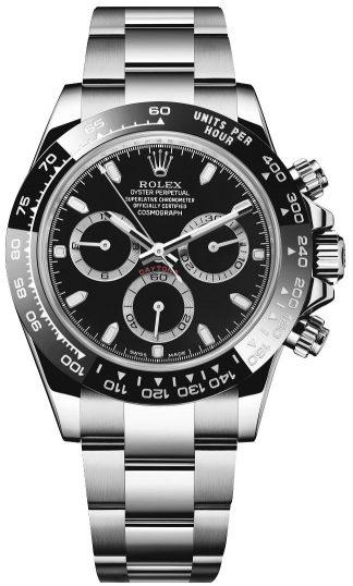 replique Rolex Cosmograph Daytona Montre à cadran noir pour homme 116500LN