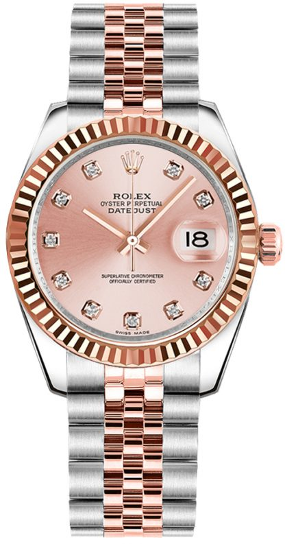 replique Rolex Datejust 31 18k Rose Gold & Oystersteel Watch 178271