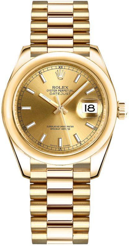 replique Rolex Datejust 31 18k Yellow Gold Watch 178248