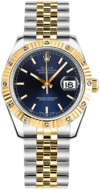 replique Rolex Datejust 31 Automatic Blue Dial Diamond Bezel Watch 178313