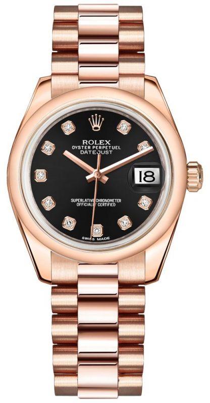replique Rolex Datejust 31 Black Diamond Dial Montre 178245