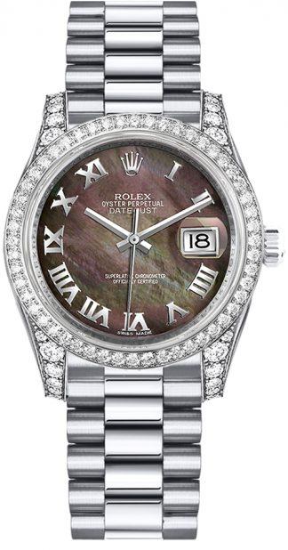 replique Rolex Datejust 31 Black Diamond Watch Diamond Dial 178159