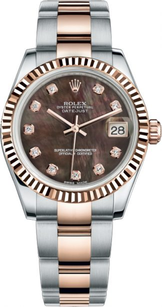replique Rolex Datejust 31 Black Mother of Pearl Diamond Dial Watch 178271